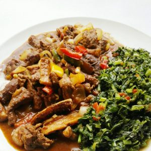 Busala served with some greens